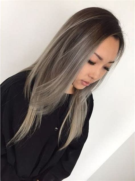 highlights to cover gray hair for asians balayage asian gray hair hairstyles pinterest gray