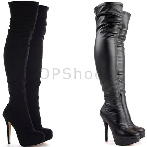 black knee high boots with heel womens black the knee thigh high stiletto heel