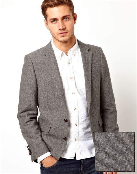 grey blazer asos slim fit blazer in tweed in gray for men lyst