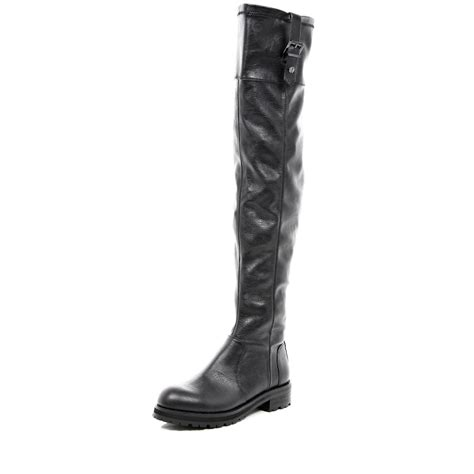 stretch boots river island black the knee stretch boots in black lyst