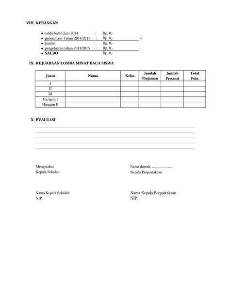 Contoh Administrasi Laporan Tahunan Perpustakaan ~ KOPI ARSIP