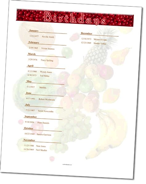 recipe calendar template add a birthday calendar to your recipe book