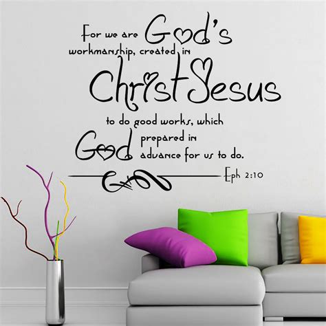 bible verse wall stickers wall decal bible verse psalms ephesians 2 10 for we are god s vinyl sticker 3609 ebay