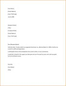 Letter Of Resignation Doc by Resignation Letter Format Search Continued Resimple