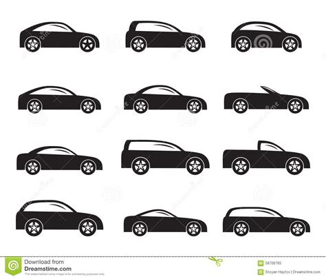 Car Types Icons by Silhouette Different Types Of Cars Icons Stock Vector