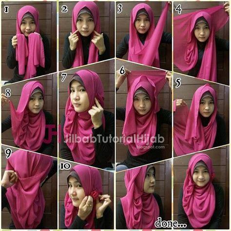 tutorial hijab pashmina sederhana 5 tutorial hijab pashmina syar i yang menutupi bagian dada