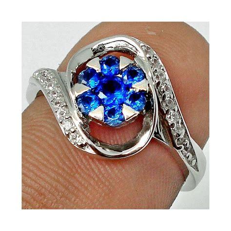 Batu Permata Blue Sapphire Cincin Silver 925 Lapis Emas Putih cincin silver 925 dengan hiasan batu blue sapphire 2 54 cts
