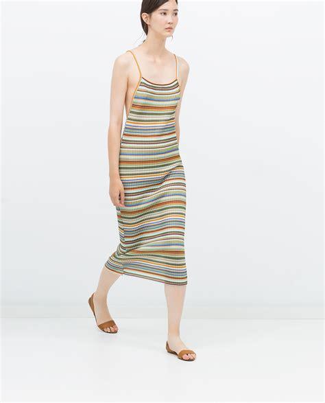 Zara Striped Dress zara striped dress with pleats striped dress with pleats in multicolor various lyst
