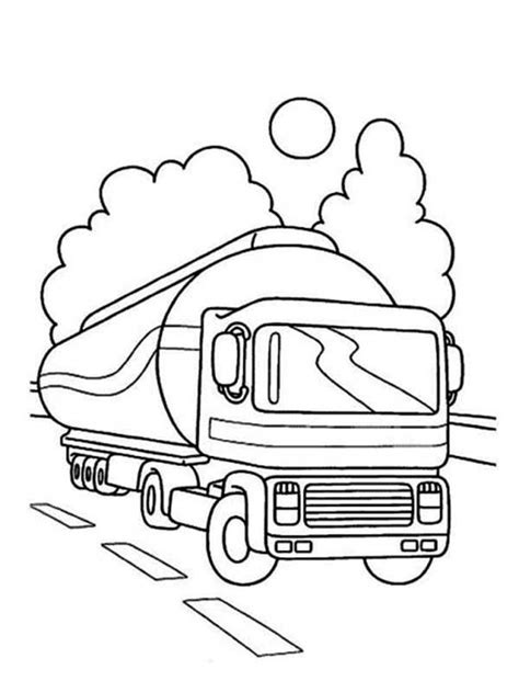 oil truck coloring page oil container semi truck on the road coloring page
