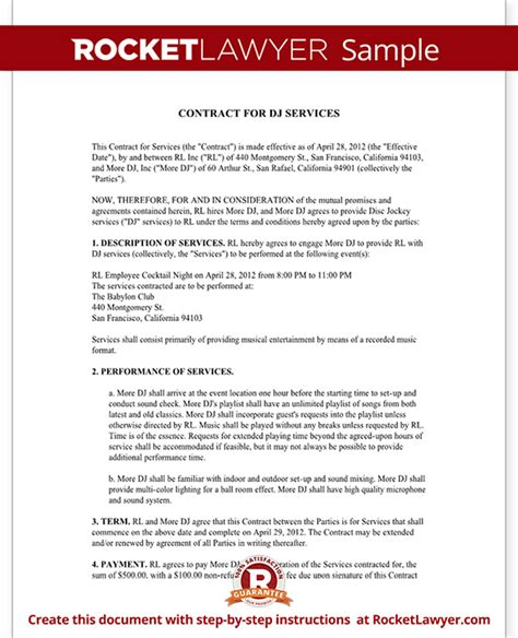 dj service contract template dj contract template dj agreement with sle