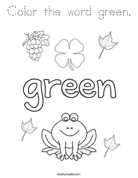 preschool coloring pages color green color the word green coloring page tracing twisty noodle