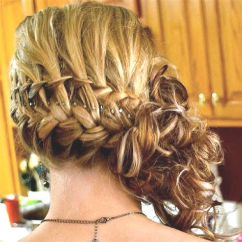evening hairstyles braids prom hair to the side curly with braid www pixshark com