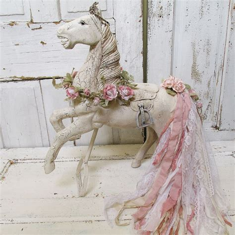 White Horses Cottage by Large White Statue Shabby Cottage Chic Wood Sculpture