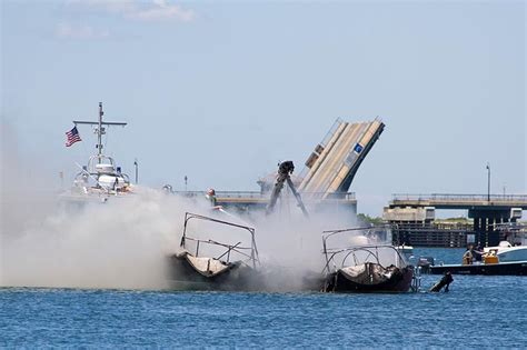 fire boat plans two boats burn in lagoon pond the martha s vineyard times