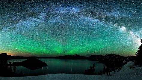 aurora borealis  winter lake full hd  wallpaper