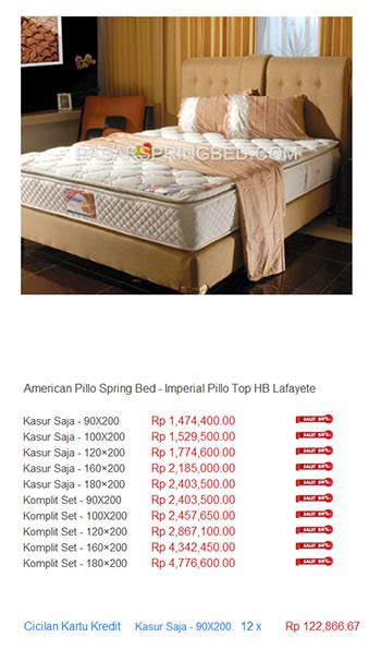 Kasur Bed American Pillo harga american pillo bed harga bed