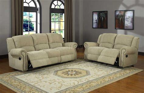 beige chenille sofa 9708cn quinn motion sofa in beige chenille fabric by