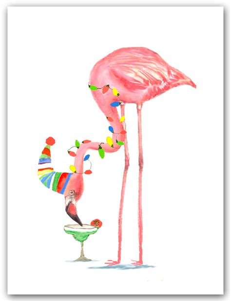 flamingo christmas cards cocktail card margarita