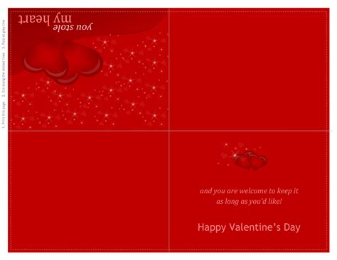 valentines day card quarter fold templates word cards office