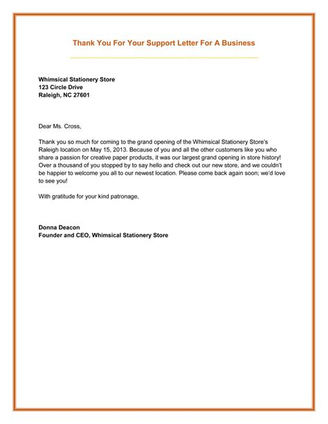 Thank You Letter For Your Business Thank You For Your Support Letter 5 Best Sles