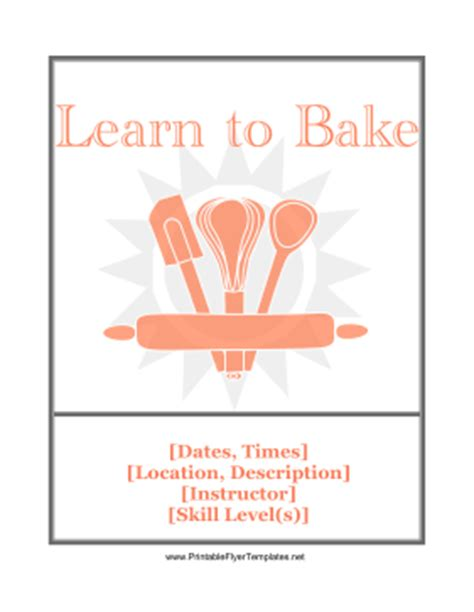 baking templates baking class flyer