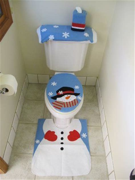 snowman toilet seat cover and rug set 4 pcs santa bathroom toilet seat cover and rug