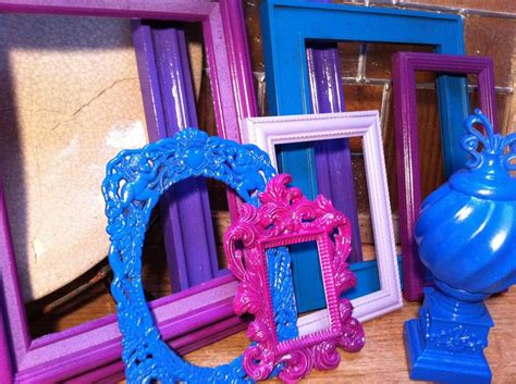 colorful home decor frames upcycled painted colorful home decor purple blue