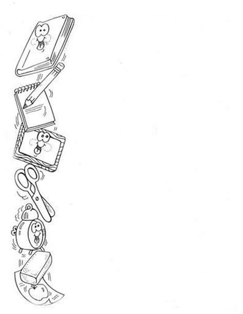 imagenes de utiles escolares a blanco y negro bordes en blanco y negro