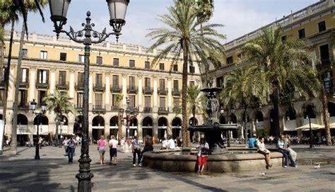 Royal Square, Plaça Reial in Barcelona, Spain