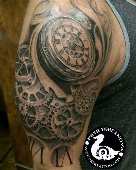 clock gears tattoo black and gray clock and gears custom tattoos