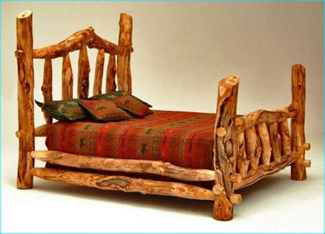 log bed frames lodge bedroom decor with cedar