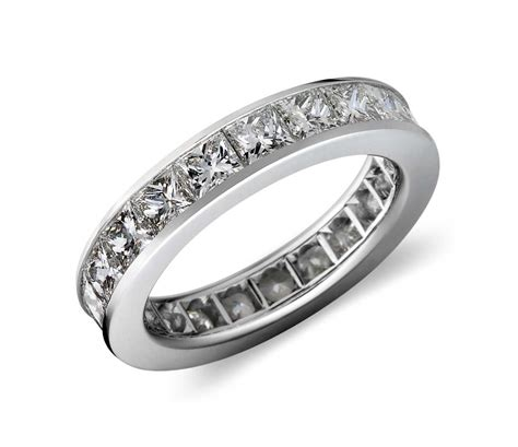 channel set princess cut eternity ring in platinum