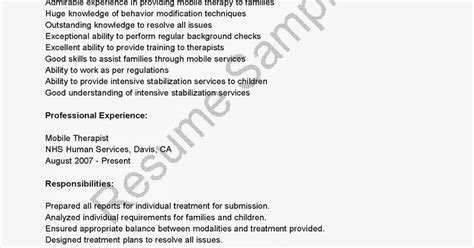 Mobile Therapist Sle Resume by Resume Sles Mobile Therapist Resume