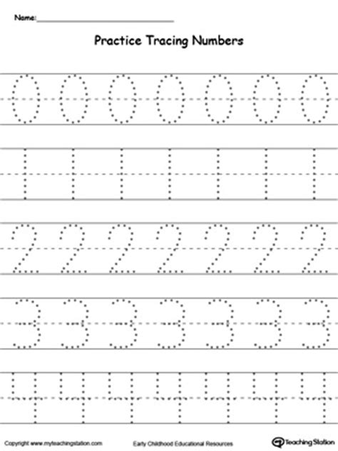 printable numbers exercise practice tracing numbers 0 4 myteachingstation com