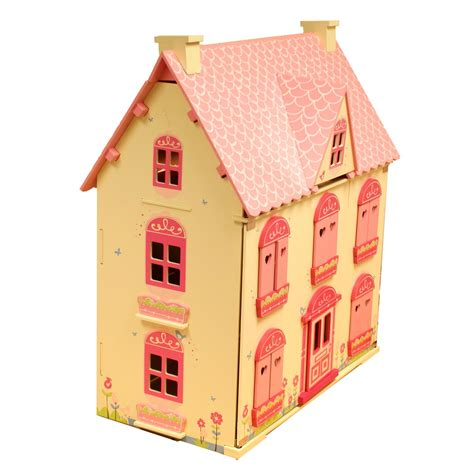 girls wooden dolls house rose cottage girls pink wooden wood dolls doll house free 22 pce furniture set ebay