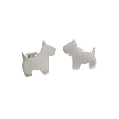 dogs with earrings silver scottie stud earrings