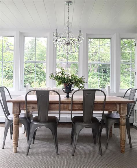 dining room farmhouse table with metal chairs folding kindred vintage farmhouse style home design