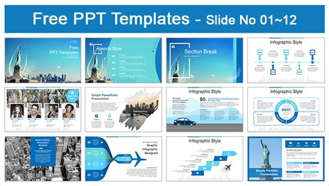 Free Statue Of Liberty New York Skyline Powerpoint Templates New Ppt Templates