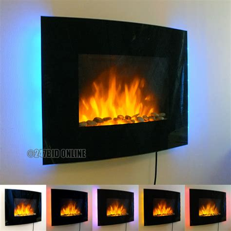 led backlit glass wall mounted fireplace heater