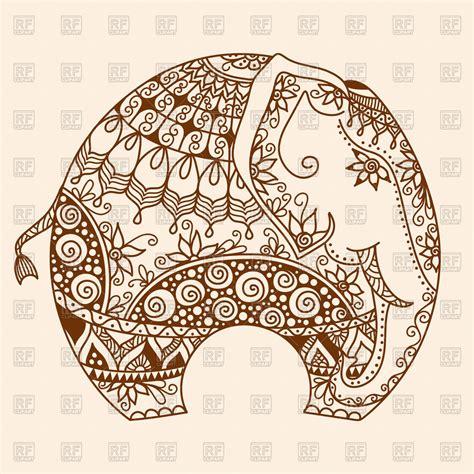 henna pattern vector hand drawn mehndi tattoo decorated indian elephant vector