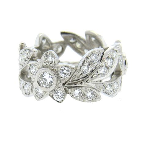 flower design ring diamond diamond platinum flower and leaf motif band ring at 1stdibs