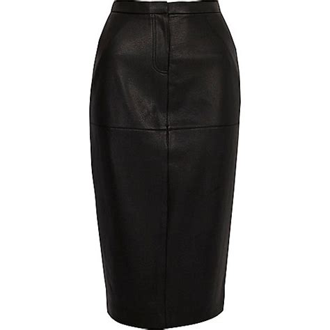 River Skirt river island black faux leather high waisted pencil skirt