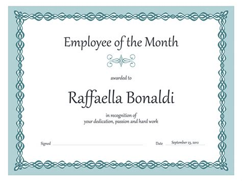 Employee Of The Month Certificate Template Word employee of the month certificate sle of employee of