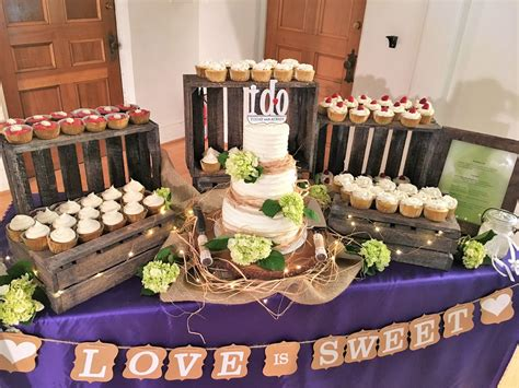 Wedding Cake With Cupcakes by Rustic Wedding Cake And Cupcake Display
