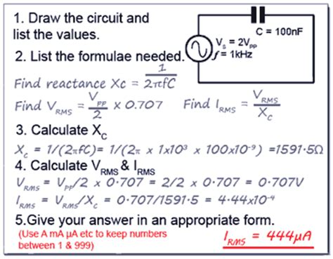 capacitor reactance equation capacitive reactance calculations