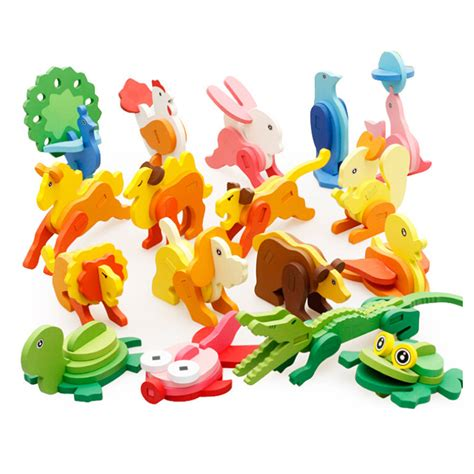 Handmade Children S Toys - 3d three dimensional wooden animal jigsaw puzzle toys for