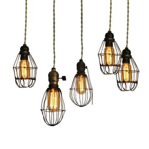 Vintage Light Bulb Pendant Vintage Cage Lights Industrial Metals And Edison Bulbs