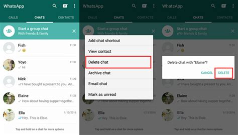 delete contacts android how to delete chat history on android whatsapp