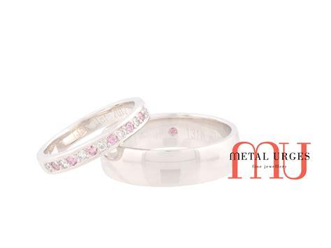 australian argyle pink and white wedding rings