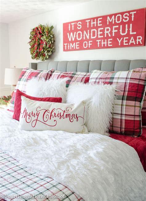 plaid christmas bedroom  diy tutorials